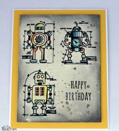 Kelly's Papercrafting: Robot Birthday Card