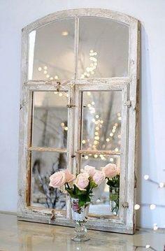 Shabby Chic Window Frame Mirror.