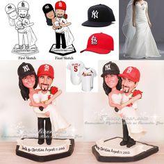 Cardinals and Yankees Baseball Wedding Cake Toppers