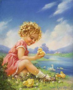 Por amor al arte: Mabel Rollins Harris Vintage Pictures, Vintage Images, Jessie Willcox Smith, Spring Pictures, Ecole Art, Baby Kind, Vintage Easter, Pictures To Paint, Vintage Cards