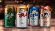 New Logo and Packaging for Itaipava Premium by Futurebrand Brand Identity, Branding, Product Label, Alcoholic Drinks, Beverages, Design Crafts, Packaging Design, Beer Cans, Zero