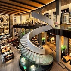 Shopping Mall Interior is so classy and luxurious. Featuring a spiral staircase with a fountain at the bottom!
