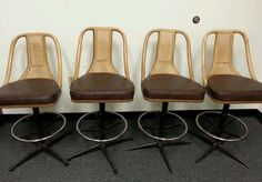 Vintage Woven Back Swivel Bar Stools Set Of 4