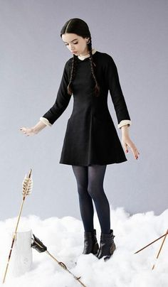 Dress: halloween halloween costume long sleeve wednesday adams collared