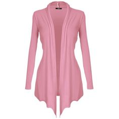 [DRSKIN] Women's Open Front Long Sleeve Knit Cardigan ($9.99) ❤ liked on Polyvore featuring tops, cardigans, open front tops, long sleeve open front cardigan, pink top, knit tops and pink knit top