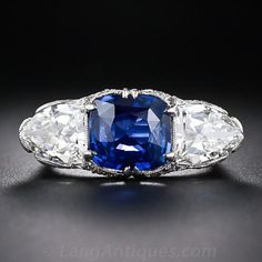 Magnificent 4.10 Carat Sapphire and Diamond Early-Art Deco Ring - 30-1-5286 - Lang Antiques  Price: $65,000.00