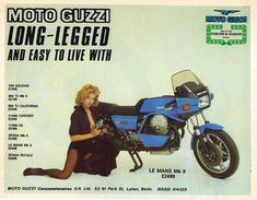 Even Moto Guzzi fell for the temptation to make less sophisticated ads like this in the '70s. But the bike's still nice, even if the Le Mans II is not the prettiest of the three editions of 850 Le Mans that Guzzi made.