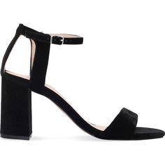 CARVELA Gigi velvet sandals ($125) ❤ liked on Polyvore featuring shoes, sandals, black, heeled sandals, ankle strap heel sandals, black peep toe sandals, black velvet shoes and velvet shoes