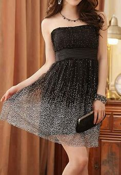 Black Dress with white dots on it <3