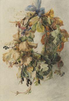 """huariqueje: """"Wreath with Autumn Leaves - Geraldine Bakhuyzen van de Sande Dutch… Illustration Botanique, Botanical Illustration, Illustration Art, Chinoiserie, Galerie D'art, Photos Voyages, Dutch Artists, Botanical Art, Fine Art Gallery"""