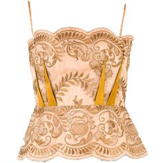 Stella Mccartney Mauve Gold Embroidered Spaghetti Strap Peplum Top Sz... (7.325 RUB) ❤ liked on Polyvore featuring tops, stella mccartney, spaghetti strap top, stella mccartney top, peplum tops and red top
