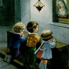 Precious children talking to their Mother Mary Catholic Pictures, Jesus Pictures, Blessed Mother Mary, Blessed Virgin Mary, Catholic Quotes, Catholic Prayers, Religion, Vintage Illustration, Mama Mary