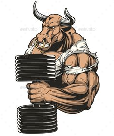 Buy Strong Ferocious Bull by on GraphicRiver. Vector illustration of a strong bull with big biceps,on a white background Vector graphics Install any size without l. Vector Graphics, Vector Art, Bulldogge Tattoo, Logo Animal, Bull Tattoos, Big Biceps, Gym Logo, Geniale Tattoos, Do Exercise