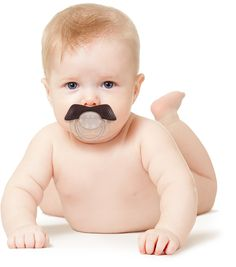 """Such a cute and funny #gift for the new #parents in your life this holiday season -- @Mustachifier #pacifier by @FCTRY! This model is called """"Lady's Man"""""""