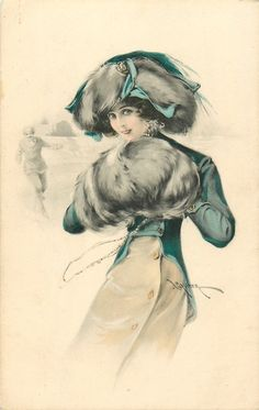 pretty girl in muff & fur trimmed hat, man skating distantly behind