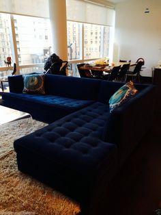 "$6500 Mitchell Gold Navy Blue Velvet Button-Tufted ""Jordan"" Sectional Sofa"
