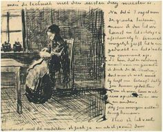 Woman at the Window, Knitting    Vincent Van Gogh Letter Sketch,  The Hague: January - middle of month, 1882  Van Gogh Museum