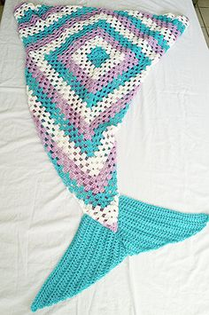 Mermaid Tail Blanket child mermaid blanket by StephanieTwistedYarn