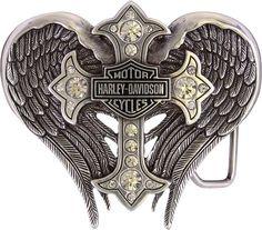 Amazon.com: Harley-Davidson Women's Back Roads Cross Winged Belt Buckle Chrome HDWBU10453: Harley-Davidson: Clothing