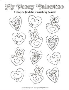 Valentine's Day matching games for kids - Valentine party games and puzzles - free printable activities - Valentine coloring pages