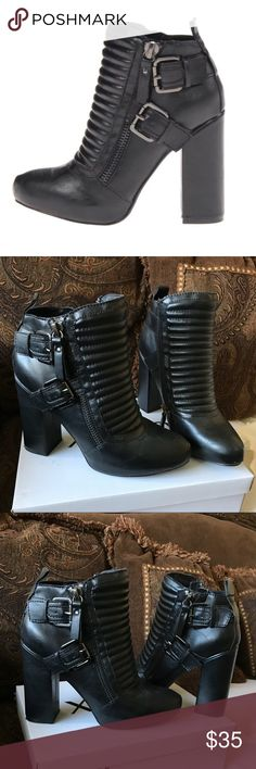 "Black Faux Leather Heeled Ankle Boots Amazing heeled boots w/ buckles.  In great condition. Last picture shoes only sign of wear-tiny scratch. Heel: 4.5"" (inches) & Platform: 1"" Peggy Loves Kenny Shoes Ankle Boots & Booties"