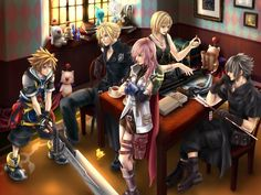 Sora, Cloud Strife, can't remember, Noctis Lucis Caleum, Lightning Farron.  Fan art.  Final Fantasy Series and Kingdom Hearts Series.