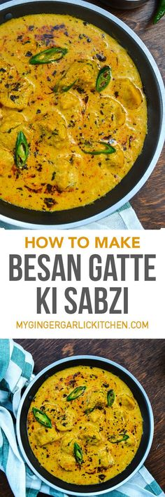 Besan Gatte Ki Sabzi, or Gatta Curry is a delicacy of the Indian state of Rajasthan. In this curry, chickpea flour dumplings are cooked in a spicy and tangy yogurt sauce. From: mygingergarlickitchen.com #Curry #Gattekisabzi #Chickpea #Glutenfree #vegetarian #Rajasthanifood #Videorecipe #Besangatte #Gattekasaag