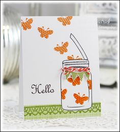 Jar of butterflies card using Inspired By Stamping stamps.