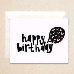 Happy Birthday Card Love, 4 1/2 x 5 1/2 hand drawn, black and white, Blank illustration card.
