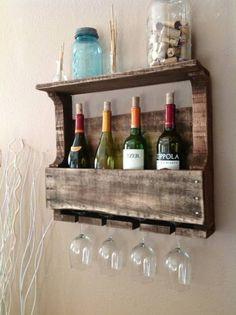 Reused pallet wine rack