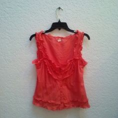 *HP!* Maeve Orange Ruffle Button Down Tank *1/17/16 It Girl Party Host Pick!* Maeve brand from Anthropologie, size 8, in excellent condition! This delicate, sleeveless top is a gorgeous orange/coral color and features ruffle and button details! Please ask any and all questions before purchasing. Thanks! Anthropologie Tops Tank Tops