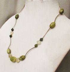 CIJ SALE Olivine Jade Jewelry, Handmade Olive Jade Prehnite Serpentine Reversible Noodle Necklace, Natural Green Gem Necklace, Healing Gemst - $25.99 USD