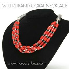 """Stunning multi-strand red coral bead necklace. Approximately 18""""."""