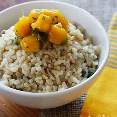 Brown Coconut Rice with Cilantro and Mango Salsa from www.skinnytaste.com