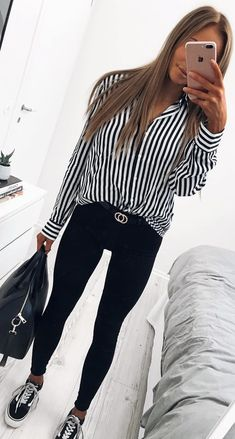 #spring #outfits black and white striped long-sleeved shirt. Pic by @karolinlisa