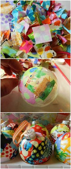 Make these easy DIY Christmas ornaments using Mod Podge and fabric. Fun for kids AND for adults! Uses glass balls from the dollar store. Great for tree for for gifts!
