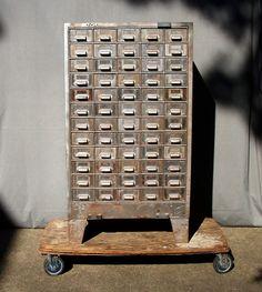 Vintage Industrial 60 Drawer Steel Cabinet on Legs / by urgestudio