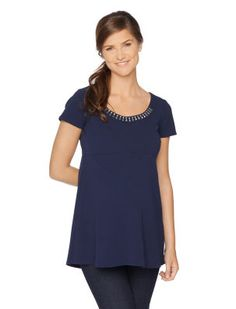 Motherhood Maternity Short Sleeve Scoop Neck A-line Embellished Maternity Shirt
