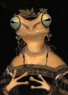 "itscolossal: ""Quirky Portraits by Bill Mayer Imagine Flora and Fauna as High Society Humans "" Surrealism Painting, Gouache Painting, Frosch Illustration, Illustration Art, Frog Princess, Frog Art, Colossal Art, Arte Horror, Frog And Toad"