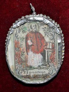 RELICARIO CON LITOGRAFÍAS ILUMINADAS, SAN IGNACIO Y SAGRADO CORAZÓN,S. XVIII   eBay