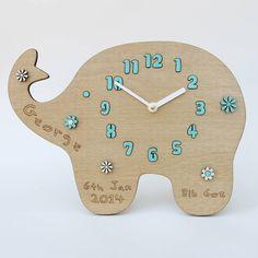 Personalised New Baby Elephant Flower Clock