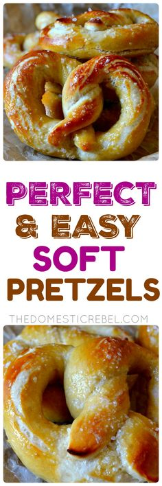 These are the most PERFECT Homemade Soft Pretzels you'll ever have! Soft, chewy with a golden crust, they come together in under one hour (from start to finished-baking!), are so supremely fluffy and buttery, and SO simple to make! by ursula Homemade Soft Pretzels, Pretzels Recipe, Churros, Good Food, Yummy Food, Biscuits, Cookies, Food To Make, Food And Drink