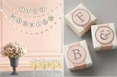 (source) How cute is the banner above? The possibilities are endless with these printable banner alphabet: use to decorate your getaway car, to decorate a cake table, a candy buffet, …just print and string 'em! You can also download smaller letters to use as labels for favors. Download Banner Letters. Download Monogram Labels. If you …