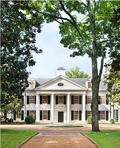 Historic Boxwood entry portico in Nashville - restored by Gil Schafer