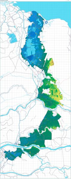 Clemens Steenbergen, Johan van der Zwart, Joost Grootens, Atlas of the New Dutch Water Defence Line: Contour Map, 2009. [Courtesy of 010 Publishers]