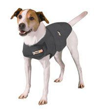 "Thundershirt works by applying pressure to certain pressure points and helps to relieve anxiety.  Check out the video of ""Puppy and the Fireworks"" to see it in action!"
