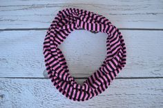 Pink and Black Stripe Toddler and Child Infinity Scarf