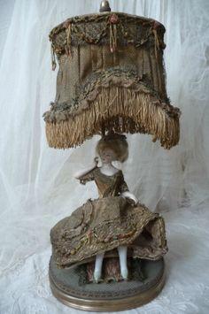 Dressel Kister RARE Antique Doll Bisque Lamp Fashion Lady Edwardian C 1900