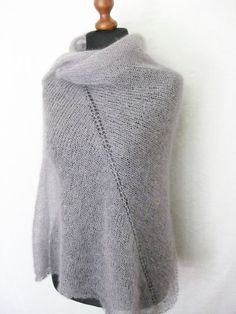 Grey mohair shawl silk mohair large scarf by Renavere on Etsy, $85.00