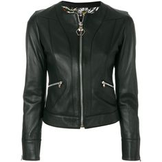 Philipp Plein fitted jacket ($2,371) ❤ liked on Polyvore featuring outerwear, jackets, black, rock and roll jacket, zip front jacket, fitted jacket, philipp plein jacket and 3/4 sleeve jacket